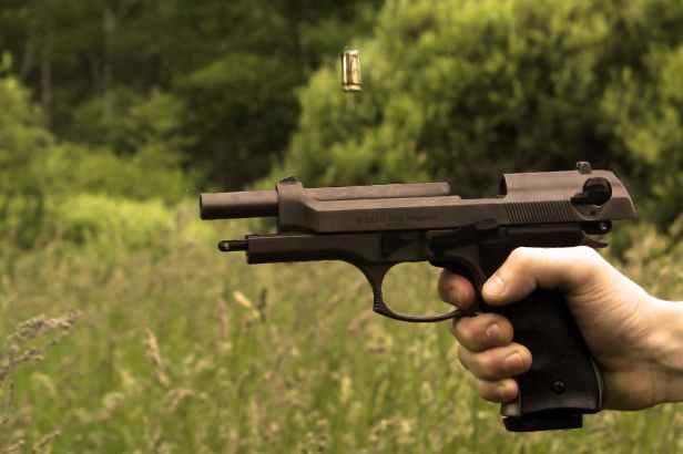 black pistol calibrated and brown bullet flies